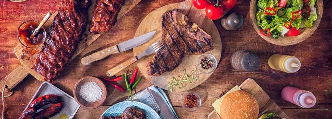 Variation of Barbeque Rib Eye, T-Bone Steak, Spareribs and Burgers