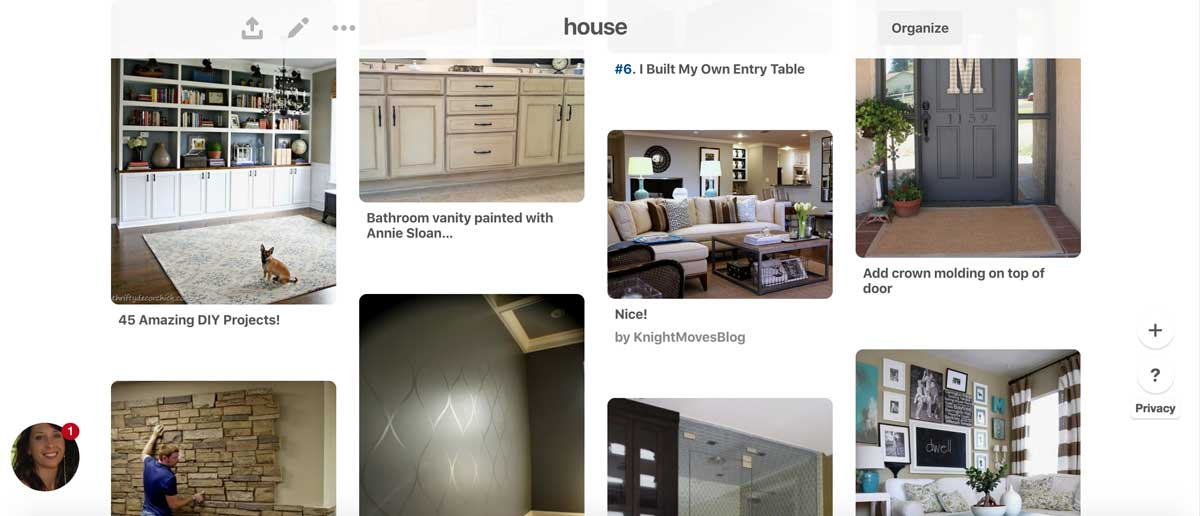 Pinterest board with building a house ideas.