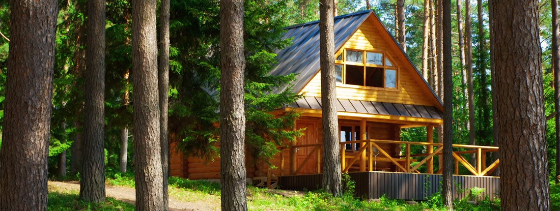 Prefabricated log house in the forest