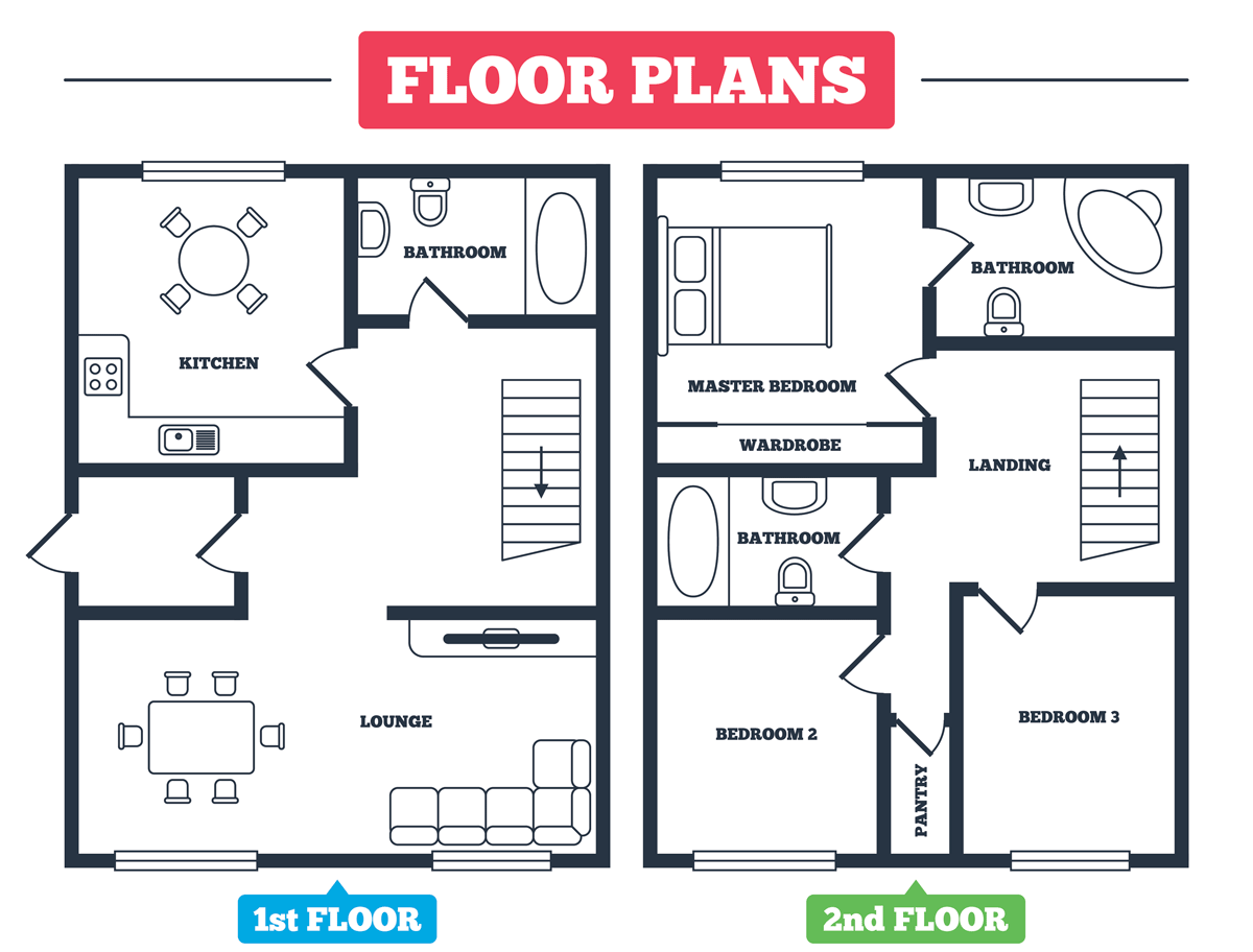 Floor plan of a house.