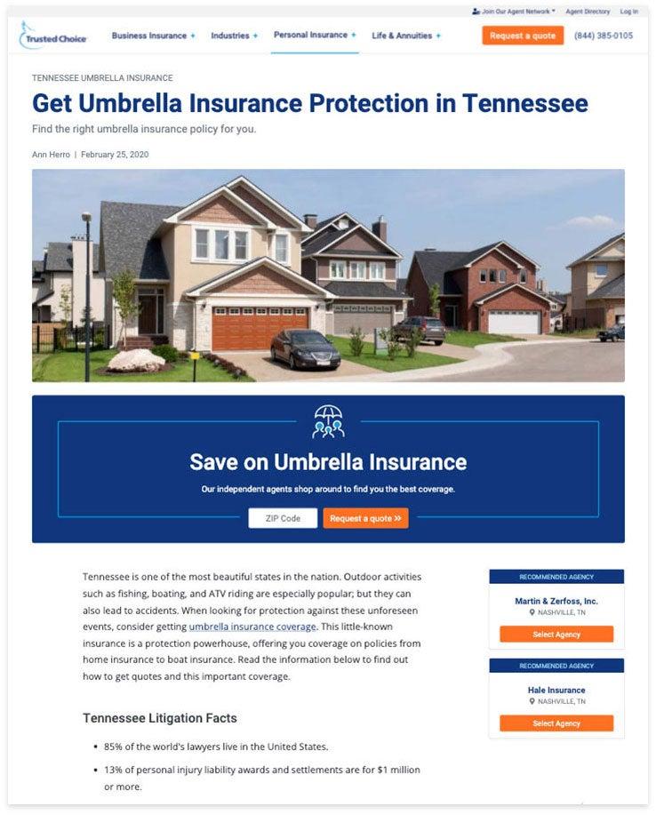 tennessee umbrealla insurance