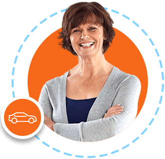 Car Icon.  Woman in gray sweater folding arms.