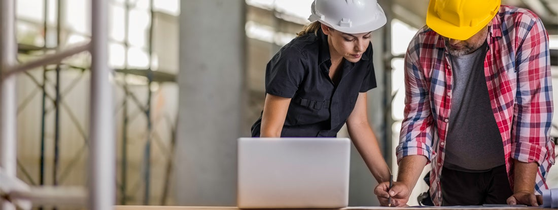Architect and engineer examining blueprints