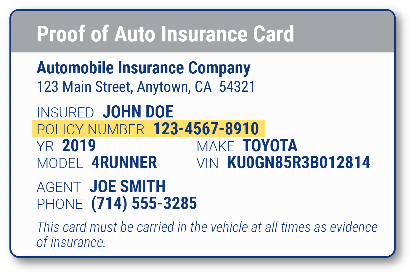 proof of insurance card with policy number