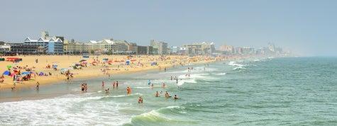 Ocean City, Maryland Skyline And Tourists On Beach