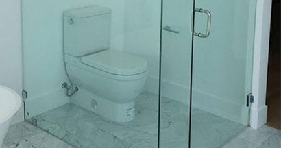 Construction mistake - toilet in the shower.