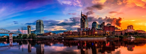 Nashville TN Skyline with Cumberland river in view