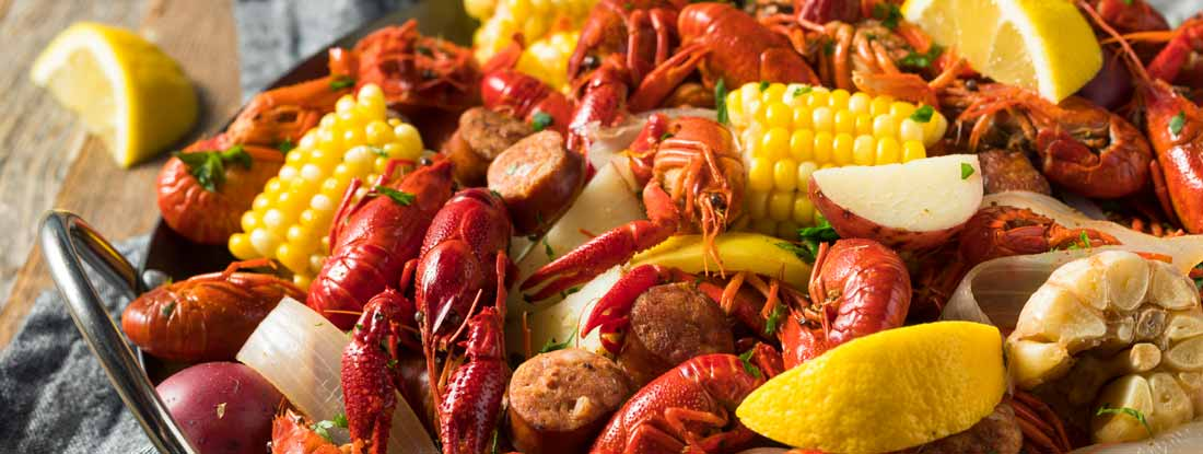 Southern Crawfish Boil with Potatoes Sausage and Corn