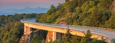 Morning light over viaduct, Blue Ridge Parkway