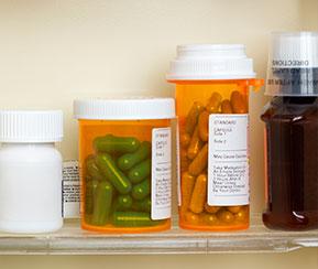 Medications in a medicine cabinet.