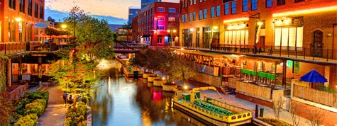 Evening view of the Bricktown Canal east of downtown Oklahoma City, Oklahoma