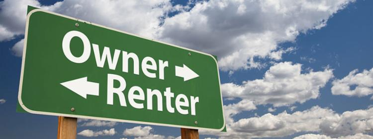A sign pointing in two directions: rent or own?