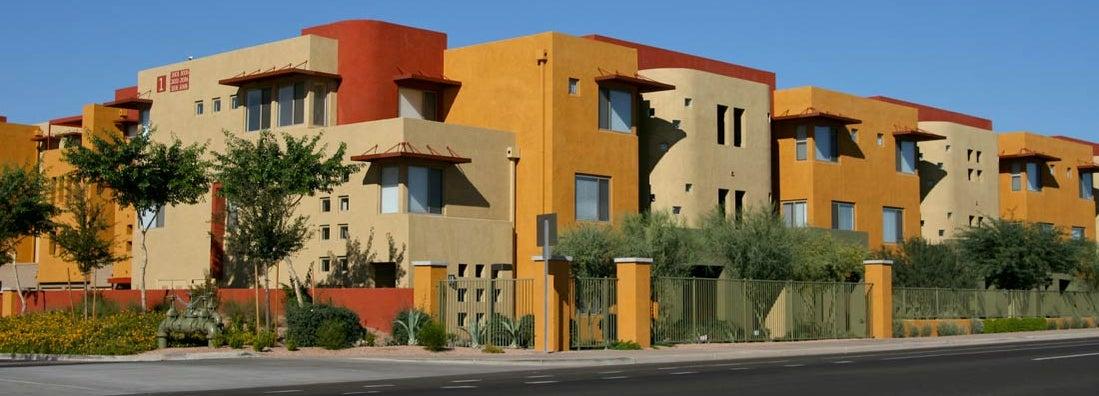 Vibrantly colored luxury apartments in north Scottsdale, Arizona. Find Arizona landlord insurance.