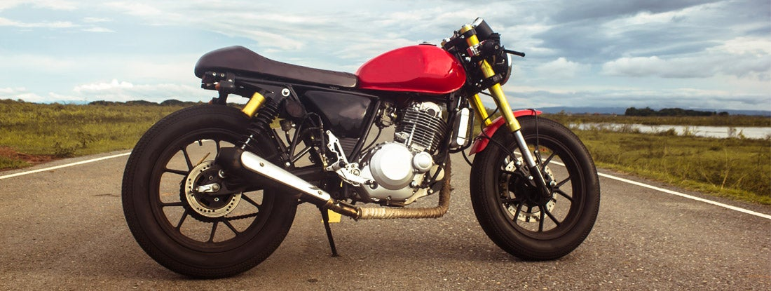 Vintage cafe racer motorcycle on the road