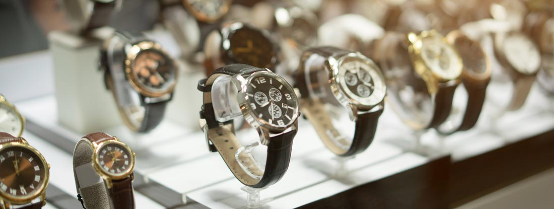 Luxury Watches at showcase in watch shop