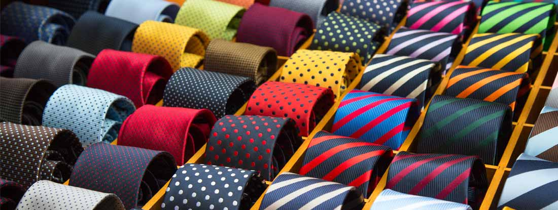 Colorful tie collection in the men's tie shop