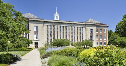 Street side view of the campus of the University of Nebraska in downtown Lincoln.
