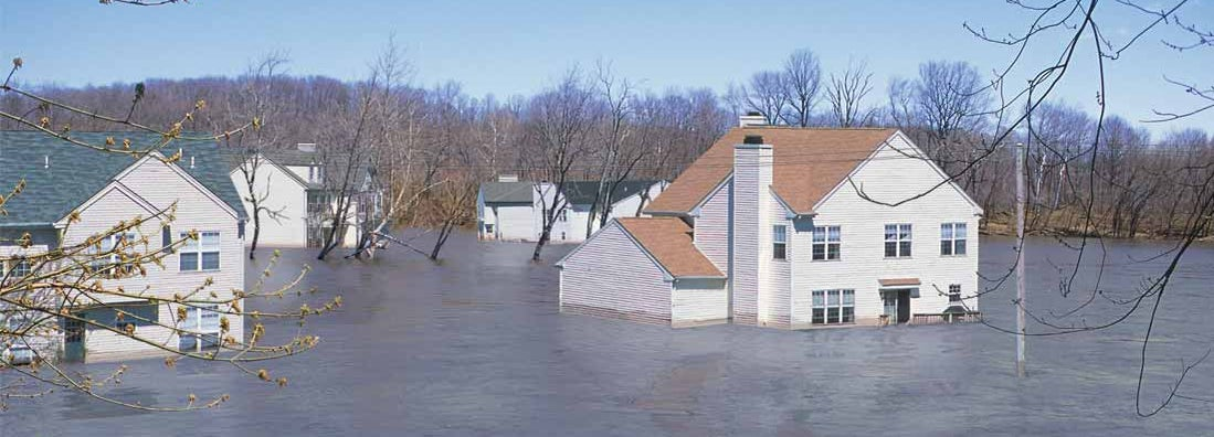 Houses in floodwaters