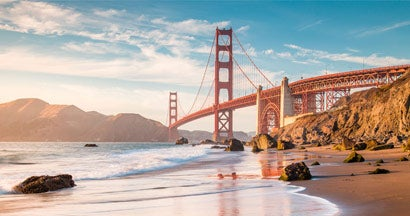 Panoramic view of Golden Gate Bridge, San Francisco, California