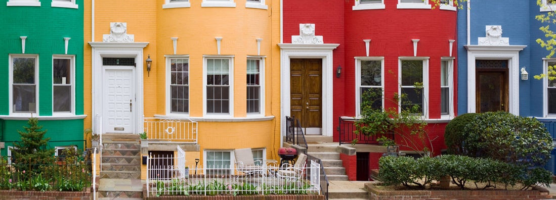 Colorful row townhouses