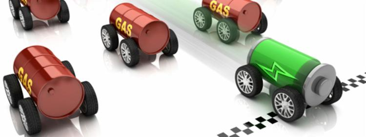 Hybrid car and gasoline powered cars in a race