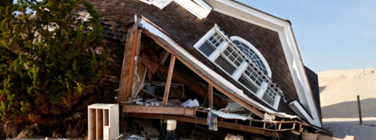 Home destroyed by a hurricane