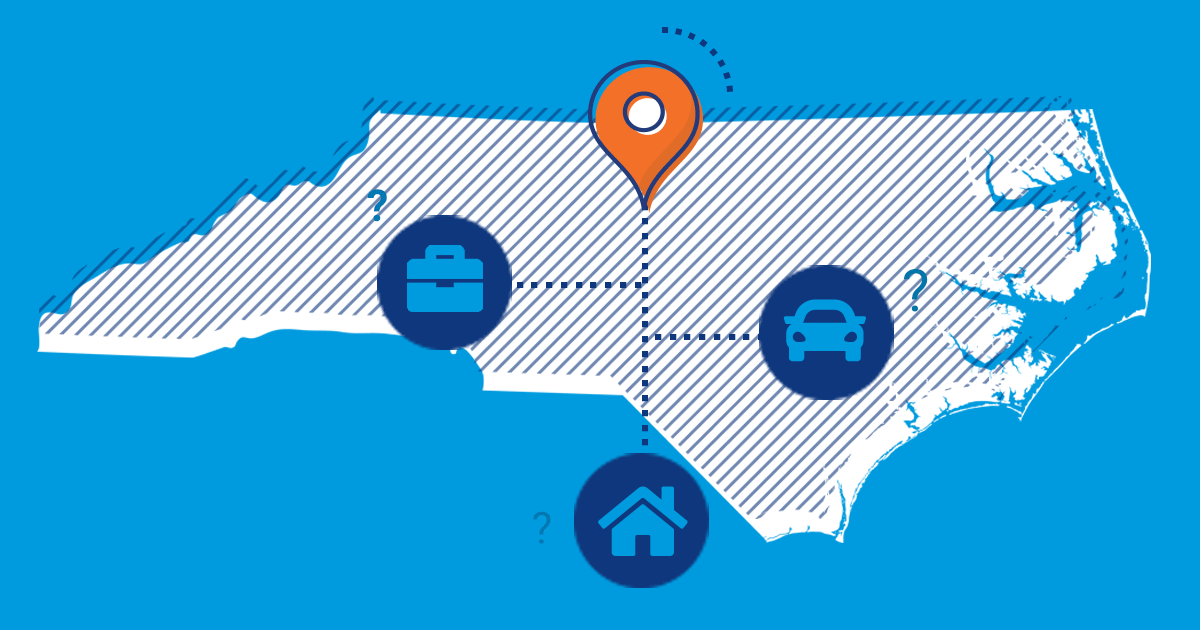 Image of north carolina with car home and business icons.
