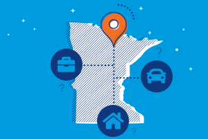 state of minnesota with car, home and business insurance icons