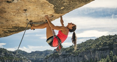 Female rock climber in Margalef Catalonia Spain