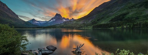 Swiftcurrent Lake at dawn, Montana