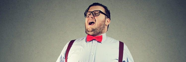 Eccentric chunky man singing opera