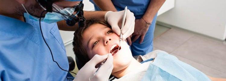 Young boy at a dentist visit