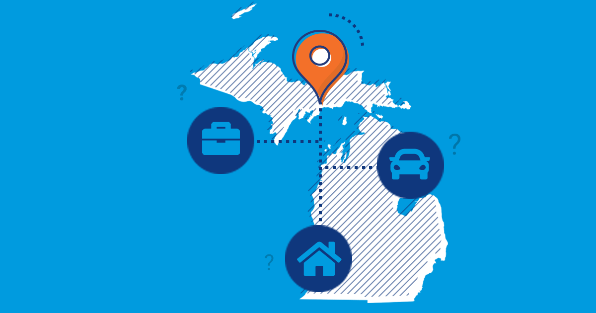 michigan car, home and business insurance icons