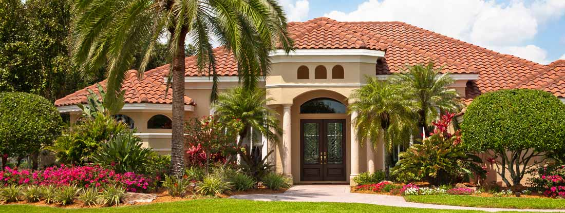 Florida home with palm trees
