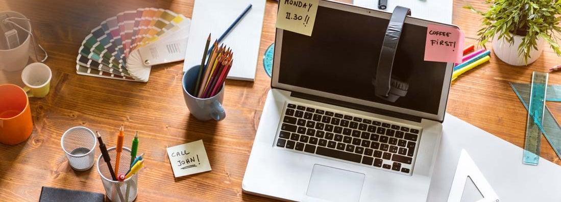 Messy desk of web designer