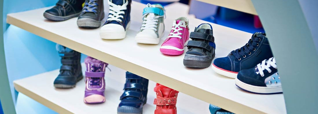 Childrens winter and autumn shoes in store