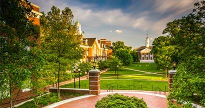 Buildings at John Hopkins University in Baltimore, Maryland.