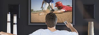 Man watching baseball game