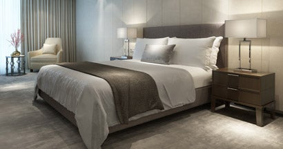 Contemporary modern luxury hotel bedroom