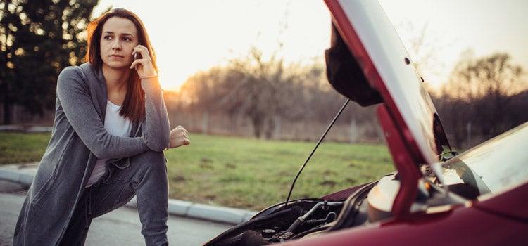 woman calling roadside assistance
