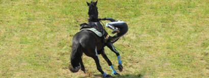 Rider falling off horse