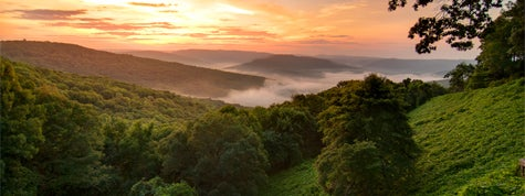 View of a sunrise in the Ozark Mountains, Arkansas