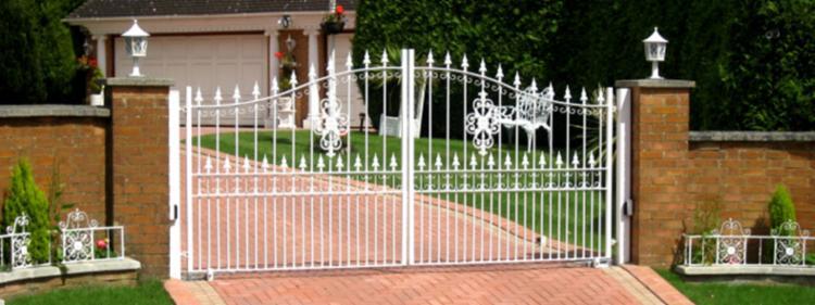 white driveway gate