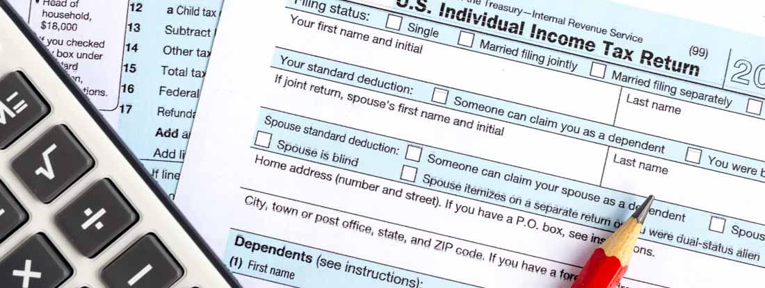 Income tax return IRS 1040 documents