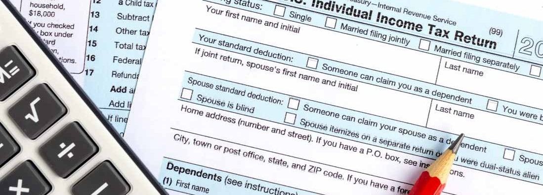 Income tax return IRS 1040 documents