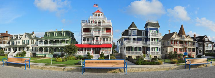 Victorian architecture along the promenade in the historic district of Cape May, New Jersey