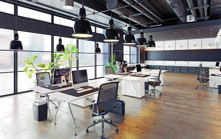 a large modern office space