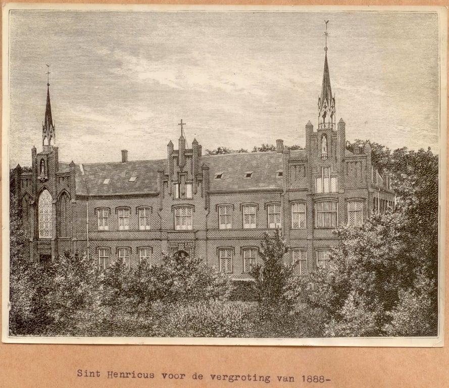 Het eerste gebouw van Sint Henricus rond 1880.