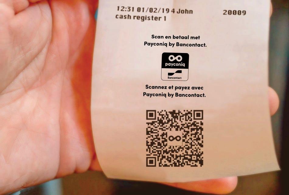 Een Payconiq QR-code op het kassaticket