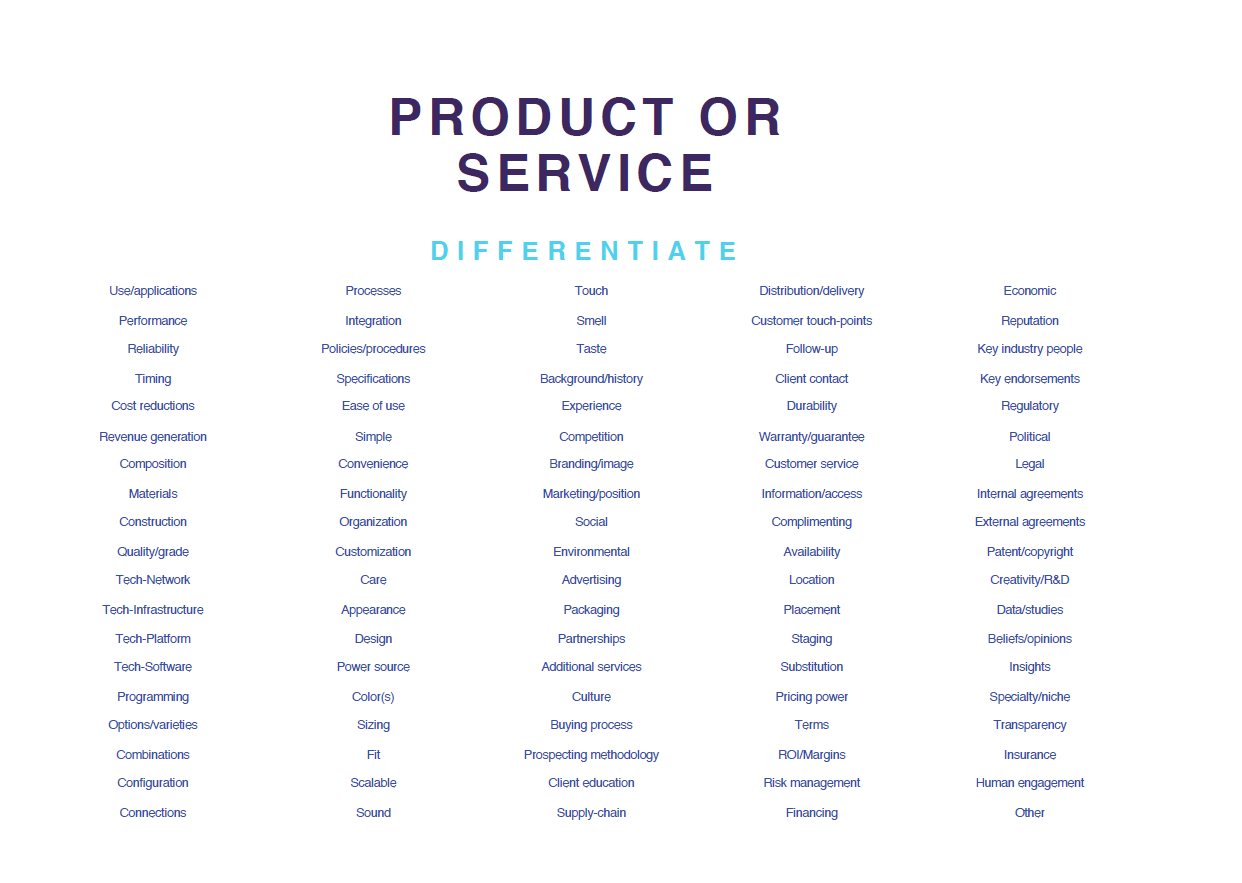 Product/service differentiators